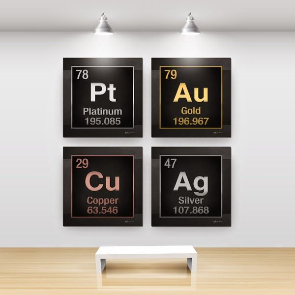 Periodic Table of Elements (Set of 4) 'The Elements' collection by SergeAverbukh available at FineArt America.