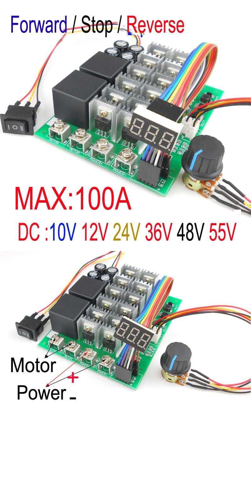 Visit To Buy Digital Display Percentage Of Speed 5500w High Power Dc Motor Forward And Reverse Circuit 100a