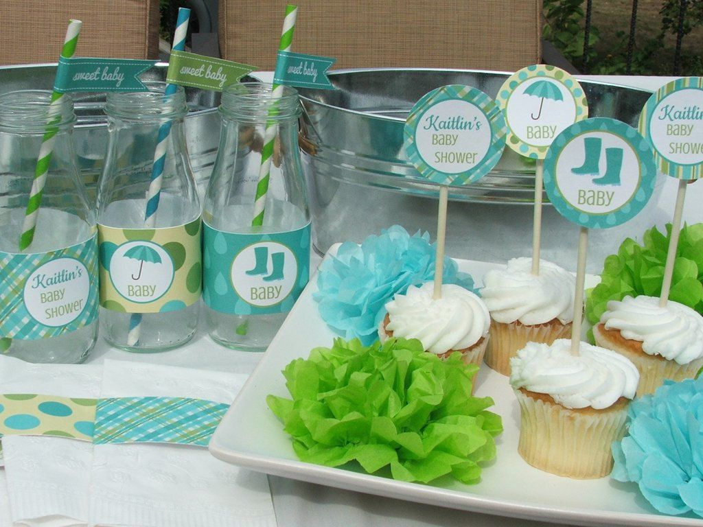 Beautiful Blue And Green Baby Shower   Make It Personalized!