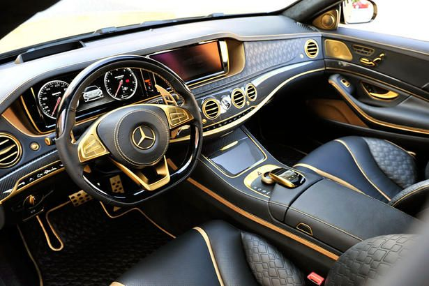 Brabus Mercedes S65 Amg Powerkit And Body Kit Car Interior Gold