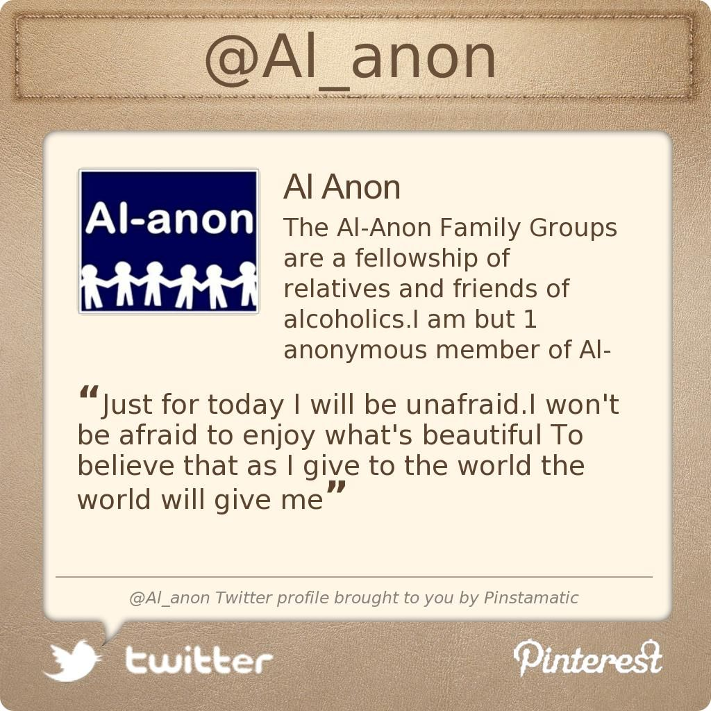 al anon dating Traditions as a guide to healthy relationships it is said that the unity of alcoholics anonymous and al -anon is the most cherished quality our fellowships.