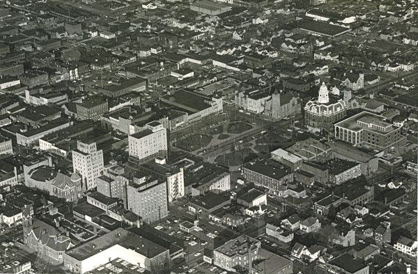 Aerial view of the Central Park area of Mansfield, Ohio, in the late 1960's. Includes Richland County Courthouse.