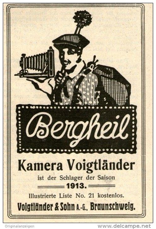 Original-Werbung/Inserat/ Anzeige 1912 - BERGHEIL KAMERA VOIGTLÄNDER ca. 70 x 100 mm