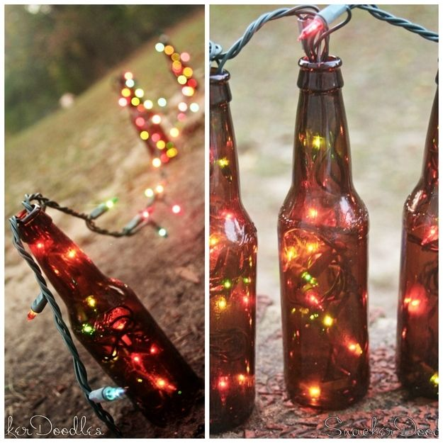 DIY Beer Bottle Table Runner - stuff colorful string lights into beer bottles to make a nightlight table runner.