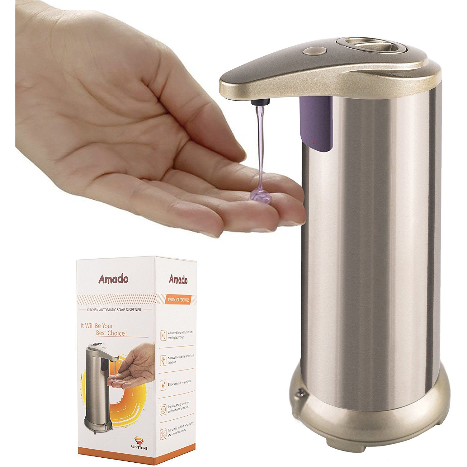 Kitchen Automatic Soap Dispenser Amado Made Of Brushed Stainless