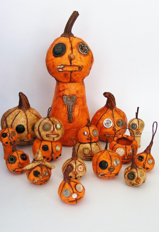 LOVE these Primitive Steampunk Folk Art Pumpkins!  @Wendy Felts Felts Werley-Williams.seasonsart.etsy.com
