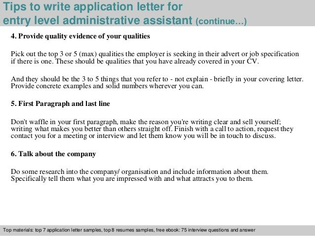 Write Application Letter For Entry Level Administrative Assistant