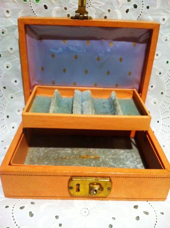 Vintage small Mele jewelry box Peach exterior Aqua blue velvet