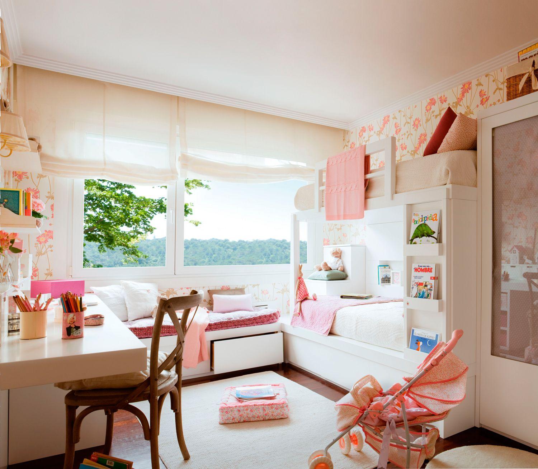 Dormitorio En Rosa Y Blanco Con Papel Pintado Floral Literas  ~ Papel Para Habitaciones Infantiles