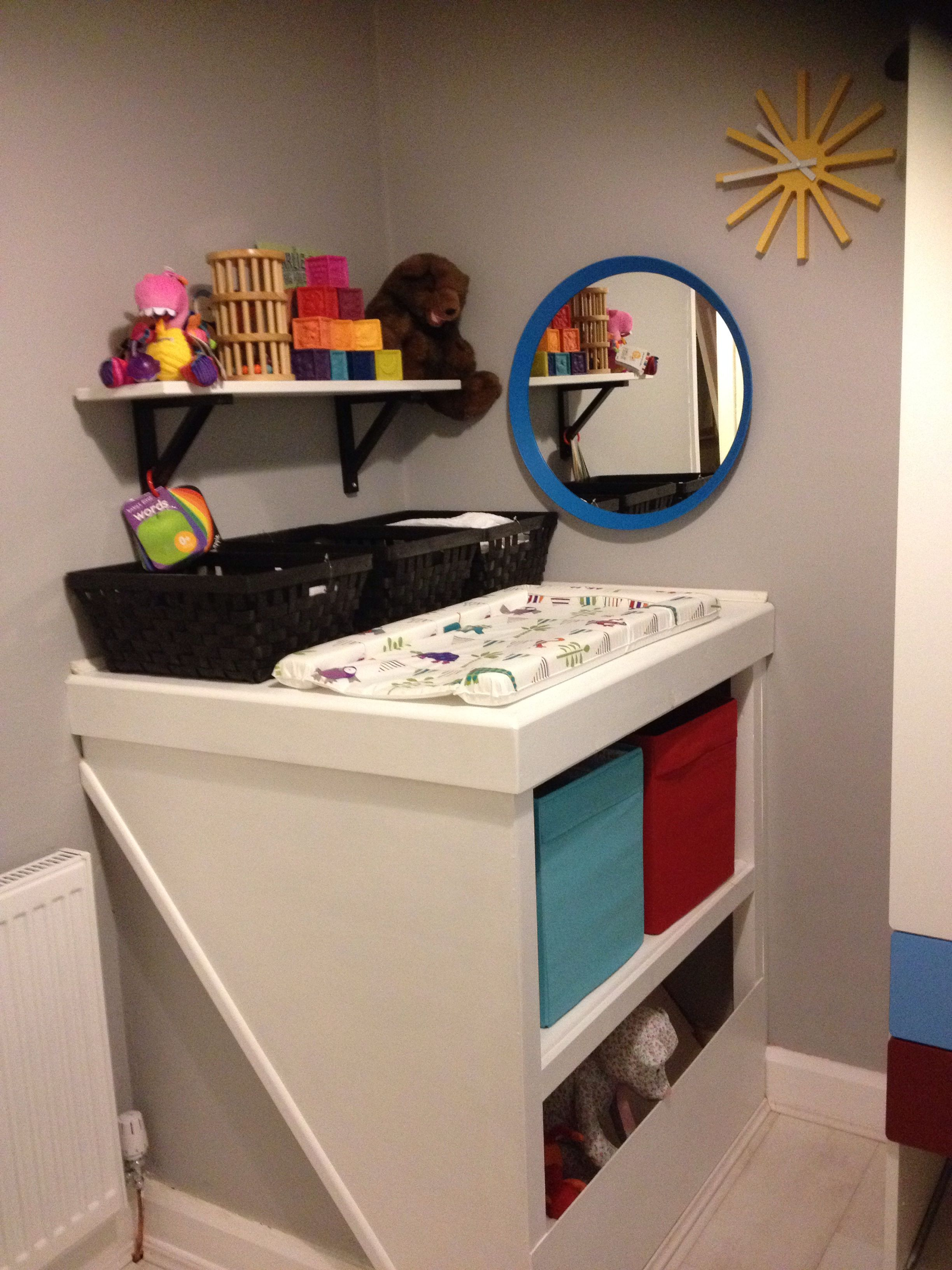 Home Made Built In Changing Table Storage Over Bulk Head Box Room Bedroom Ideas Box Room Bedroom Ideas For Kids Stair Box In Bedroom