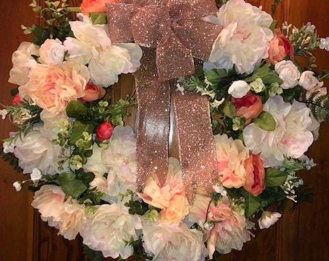 Bauble Wreath, Rose Gold Bauble Wreath, Unicorn Wreath, Christmas Wreath, Christmas Decor, Xmas Wreath, Rose Gold Wreath, Festive Wreath