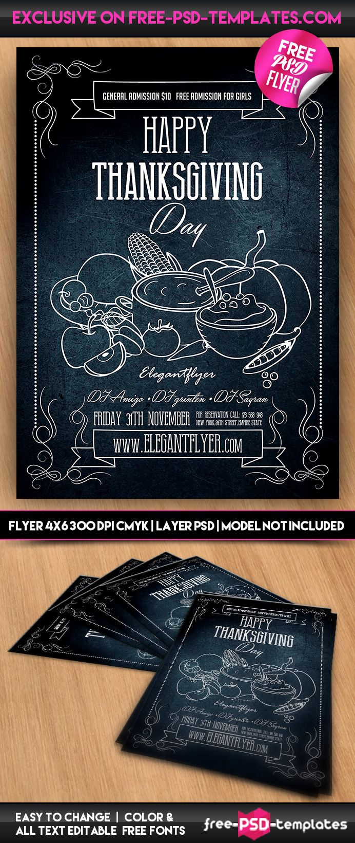 Free Thanksgiving Flyer In Psd Available For Download Mockups