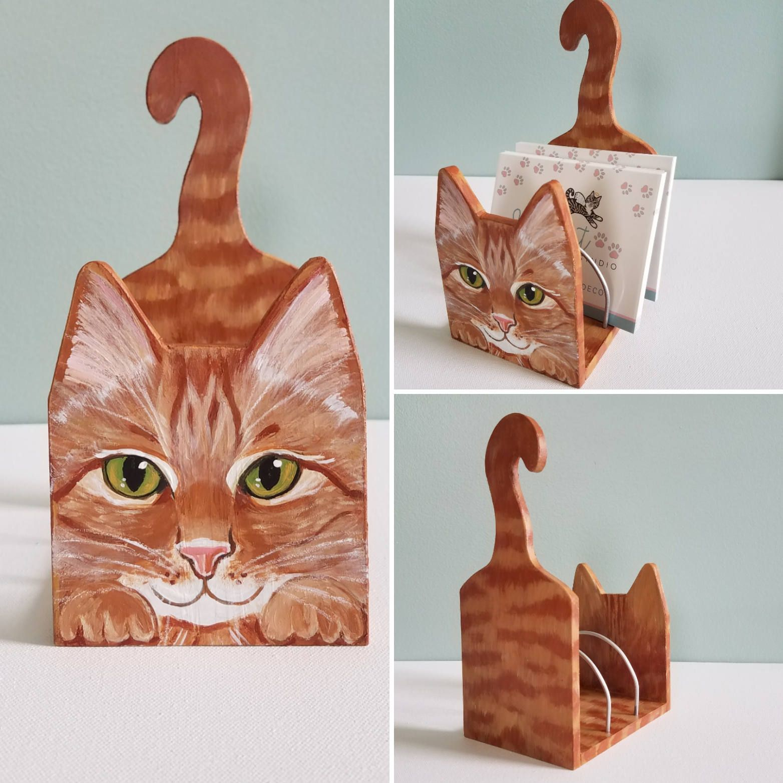 Desk Accessories Tabby Cat Office Decor Mail Organizer Cat Lover Gift Cat Themed Gifts Mail Holde Animales De Madera Manualidades Muebles Para Gato