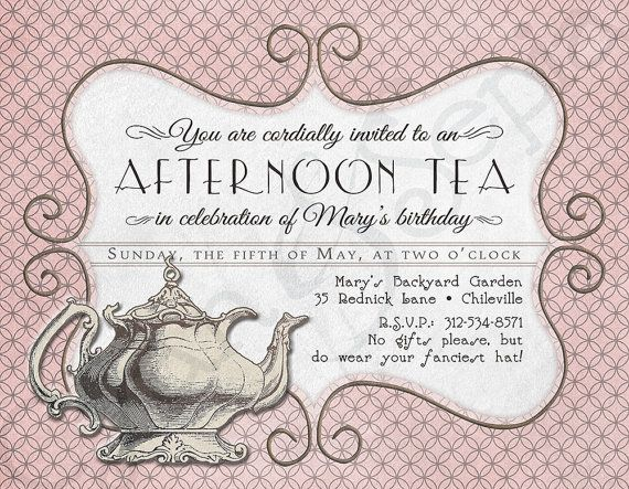Printable tea party birthday invitation 425 x 55 4x6 5x7 printable tea party invitation birthday shower vintage teapot pink victorian cyanandsepiasy stopboris Images