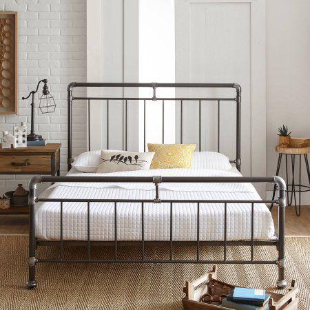Premier Vintage Pipeworks Queen Metal Platform Bed Frame Silver