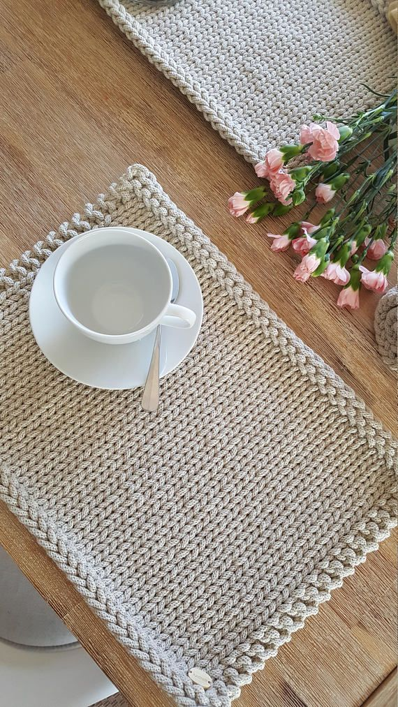 Set of 12 Placemats, Knitted Cotton Placemats, Handmade Table Place Mats, Modern Dinner Mats