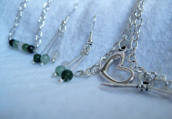 Mojito Green Agate Necklace and Earrings