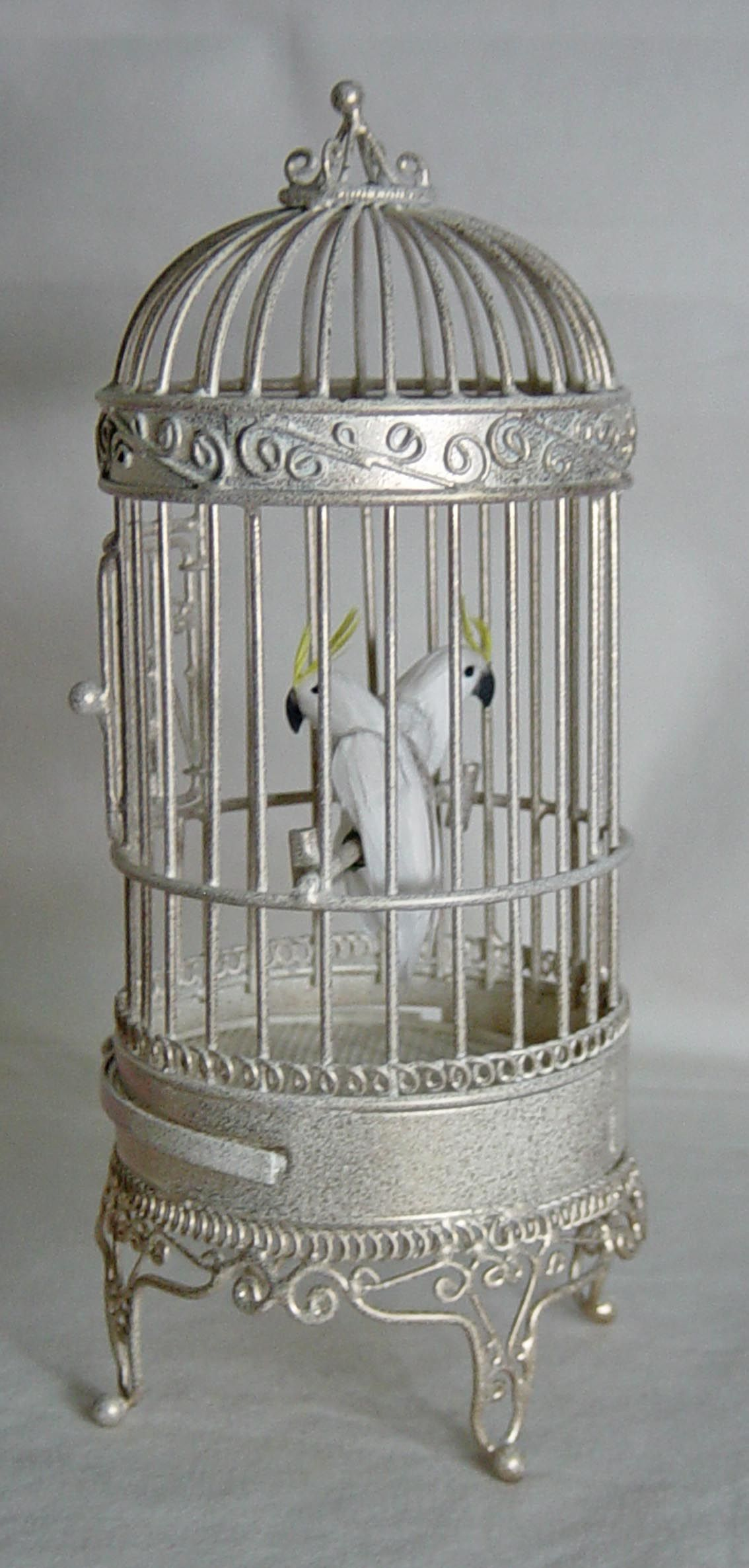 UNIQUE MINIATURES, VAL HARPER - Floor Standing Bird Cage and two  Cockatoo's.This is