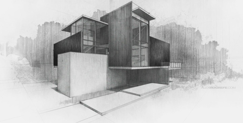 Alex Hogrefe. Digital Sketch. Villa Digital Sketch | Visualizing Architecture