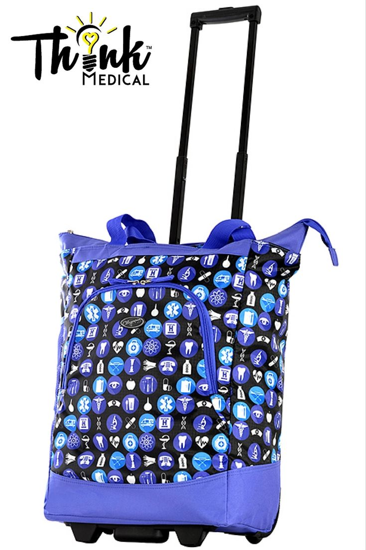 This Deluxe Rolling Tote from Olympia features a fun pattern made especially for those in healthcare.