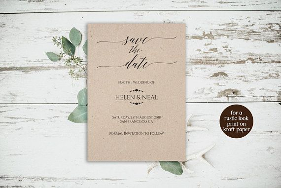 Kraft Paper Save The Date Card Rustic Save The Date Template Rusti - Rustic save the date templates