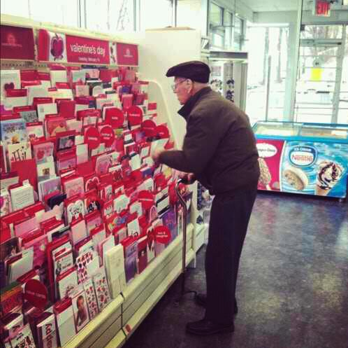 """ So today I was in Hallmark buying my mom a Happy Birthday card when I noticed this old man stnding in front of the Valentines card section contemplating which one to get. I decide to go over and I ask him ""Are you getting a Valentine's Day for your wife?"" in which he replies 'No my wife died 3 years ago from breast cancer but I still buy her roses and a card and bring them to her grave to prove to her that she was the only one that will ever have my heart' """