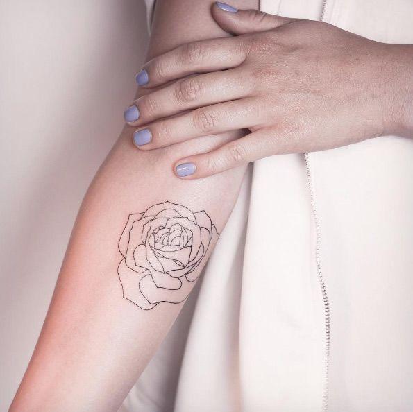 acf18b2b5f71e unique Tiny Tattoo Idea - Minimalistic rose tattoo by Melina Wendlandt.