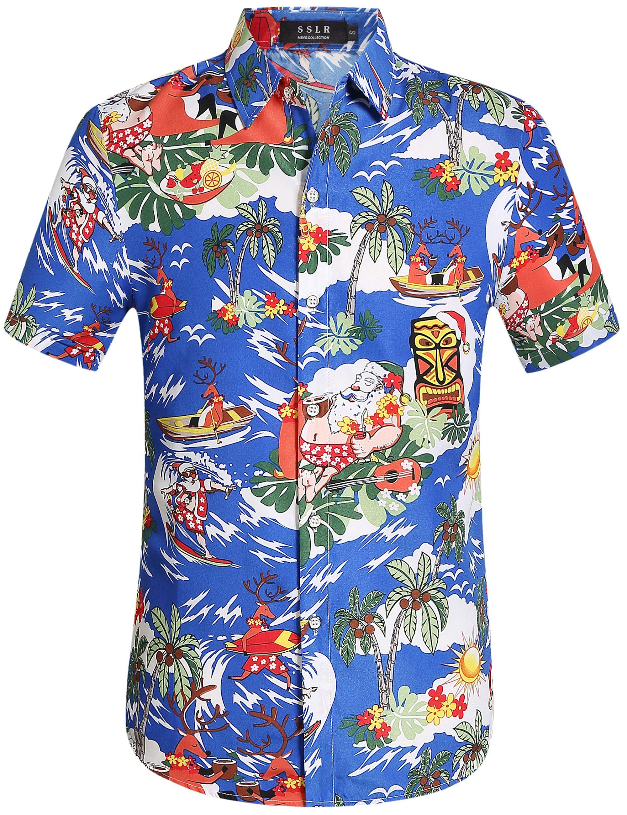 Christmas Hawaiian Shirts.19 00 Paradise Blue Christmas Hawaiian Shirt For Men