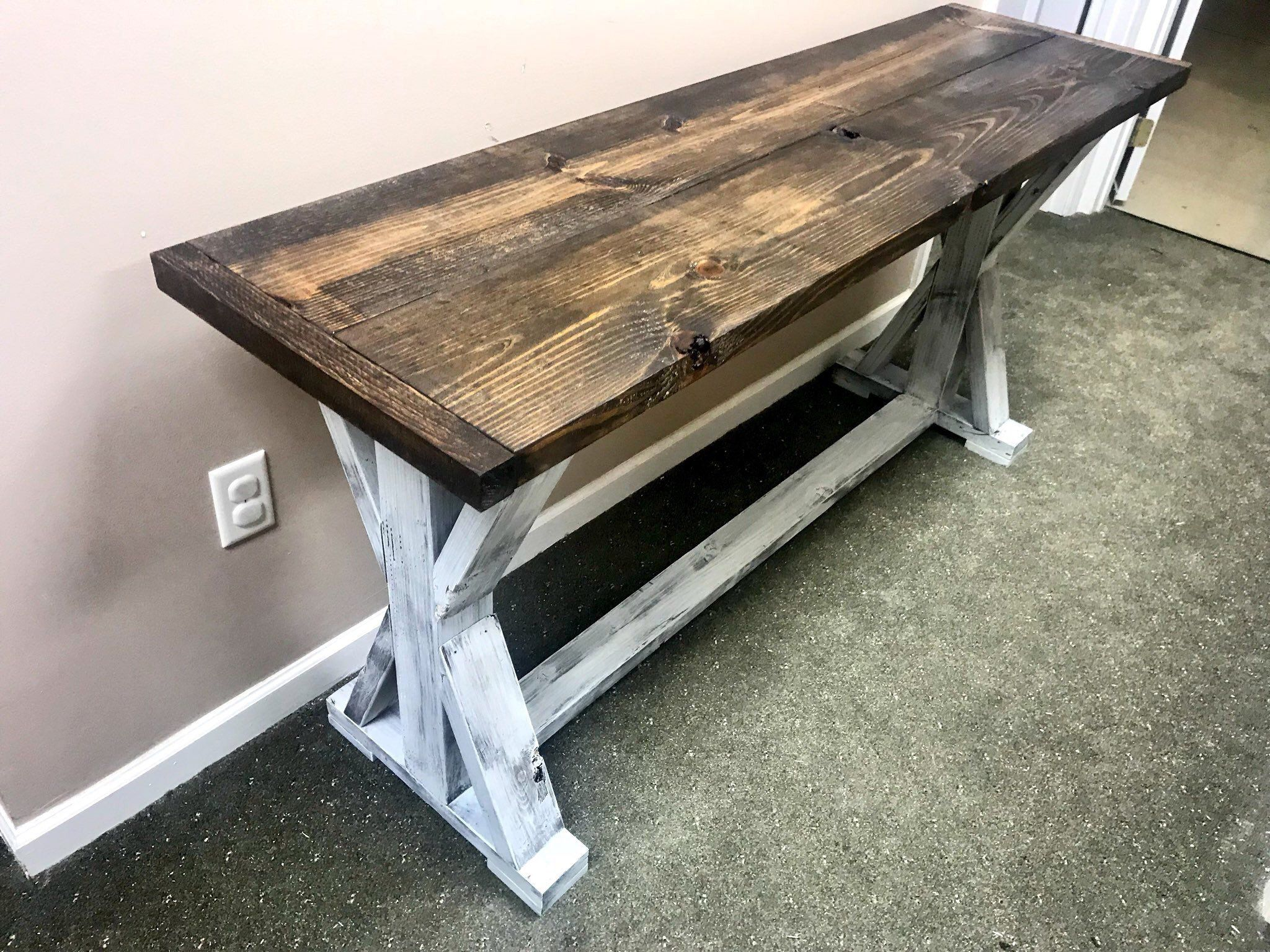 Rustic Console Table Farmhouse Pedestal Entryway Table With Dark Walnut Top And Distressed White Base Handmade Buffet Rustic Console Tables Rustic Consoles Entryway Tables