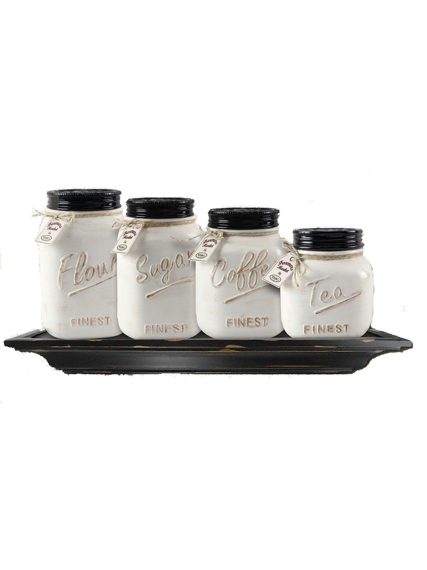 Off White Canister Mason Jar Set of 4 | Canister sets, Jar and Kitchens