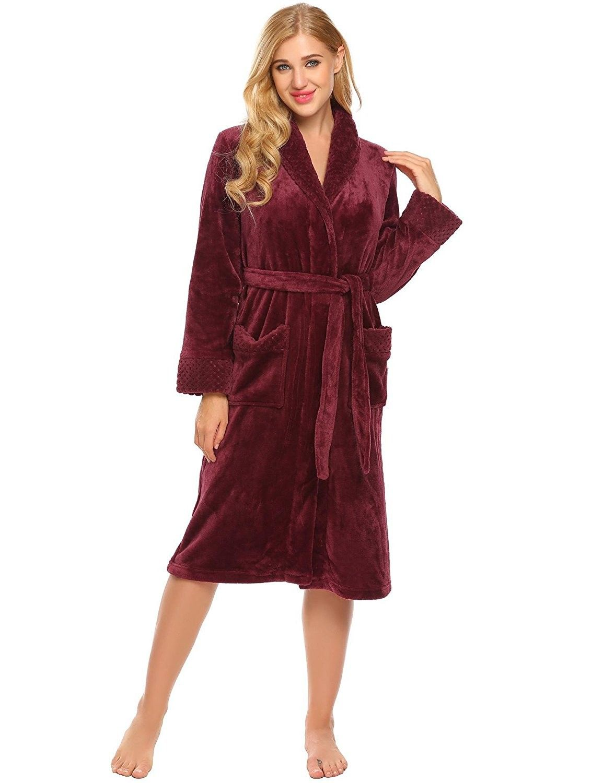 87e25ed2c963 Women Shawl Collar Fleece Sleepwear Wrap Robe Plush Long Sleeve ...