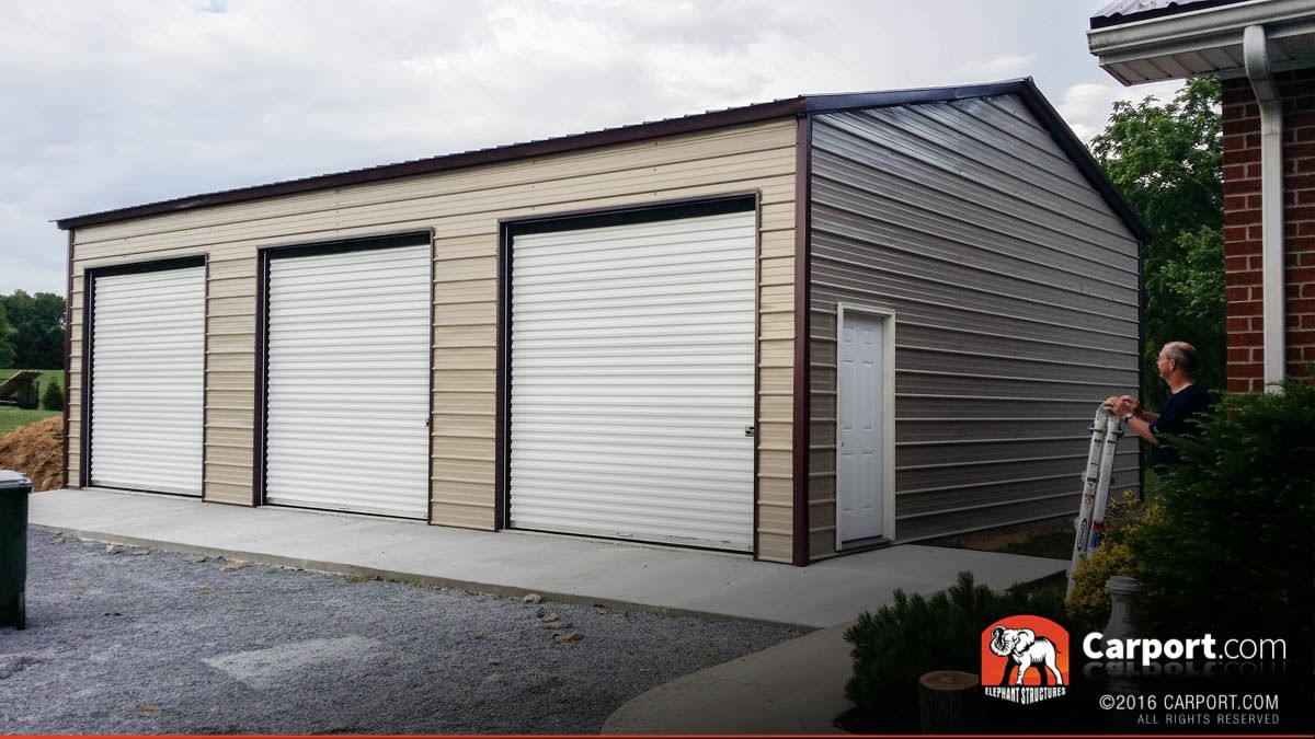 This Commercial Three Car Garage Is A Great Way To Store Up To Three Vehicles And Some Lawn Equipment We O Garage Door Design Garage Design Garage Door Styles
