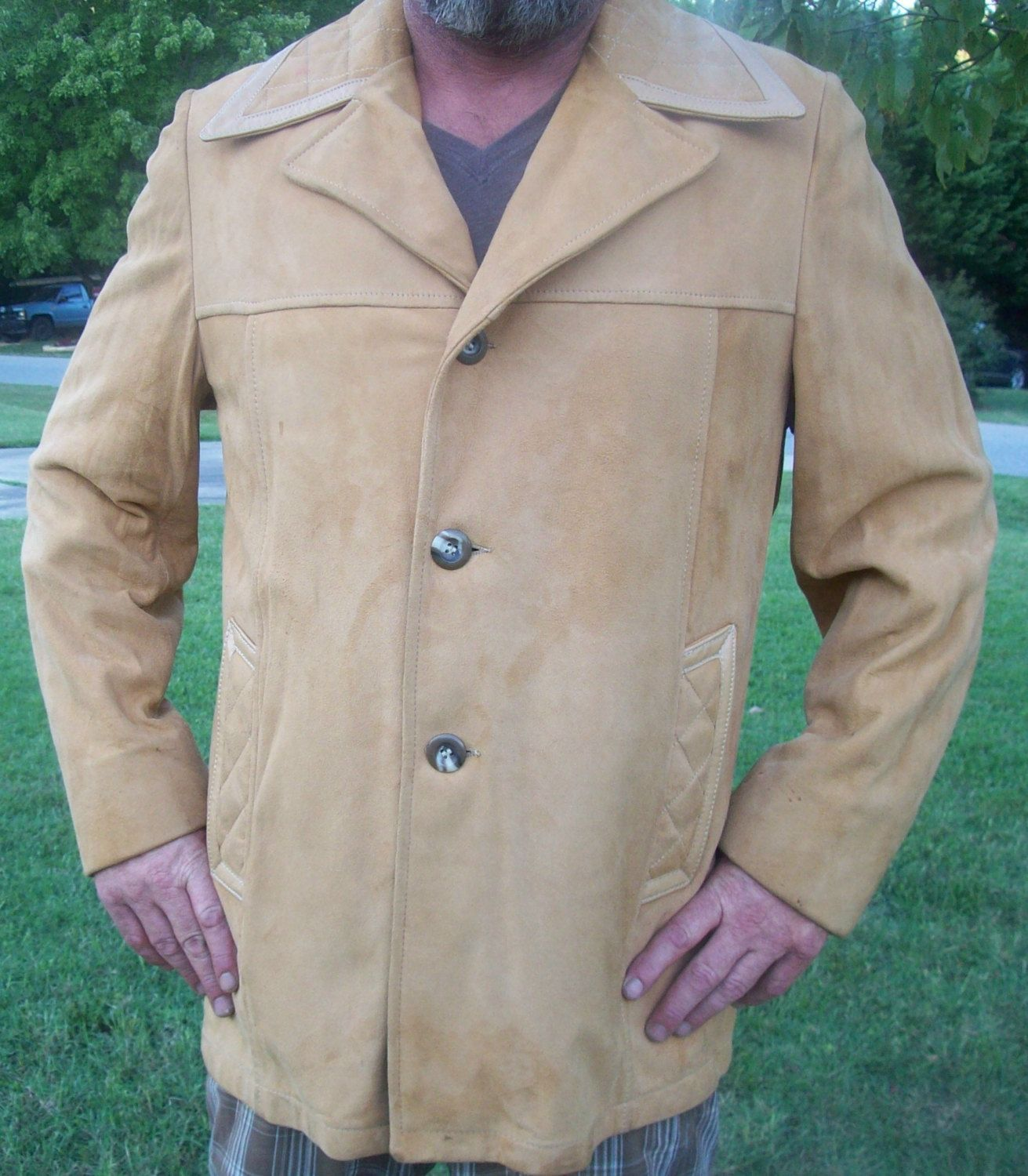 Vintage 1960's Lakeland soft suede light brown single breasted blazer style jacket / coat by YoNeato on Etsy
