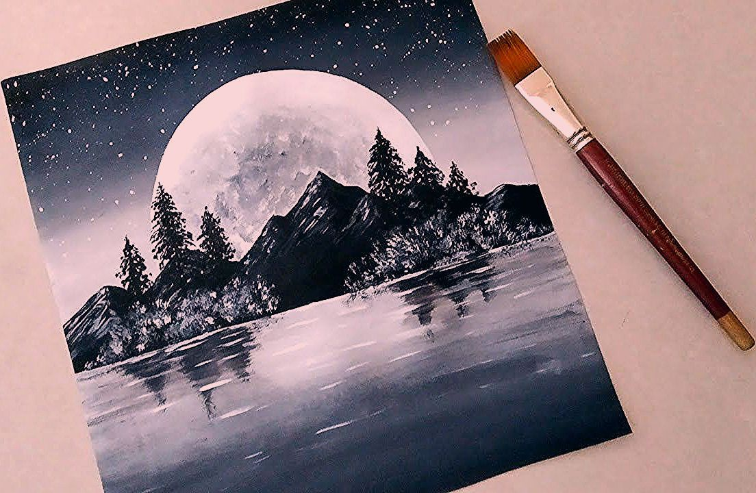 Black White Easy Landscape Painting For Beginners Acrylic Painting Technique Youtube 2020