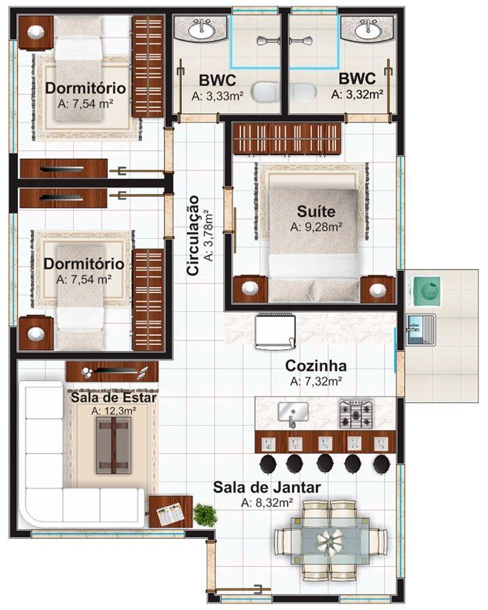 Resultado de imagem para plantas de casas pequenas com 3 quartos 3d