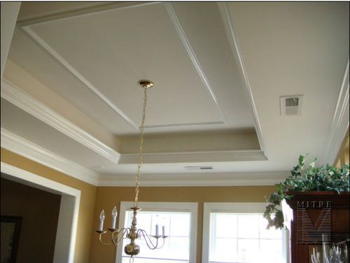 ceiling crown molding in kitchen | 15. tray ceiling with lighting