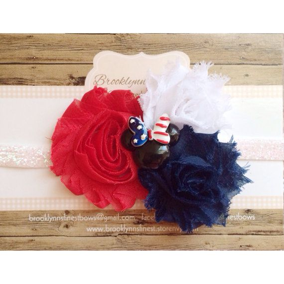 Minnie Mouse, 4th of July bow, hair bow, baby bow, photo prop, Disney bow on Etsy, $10.95