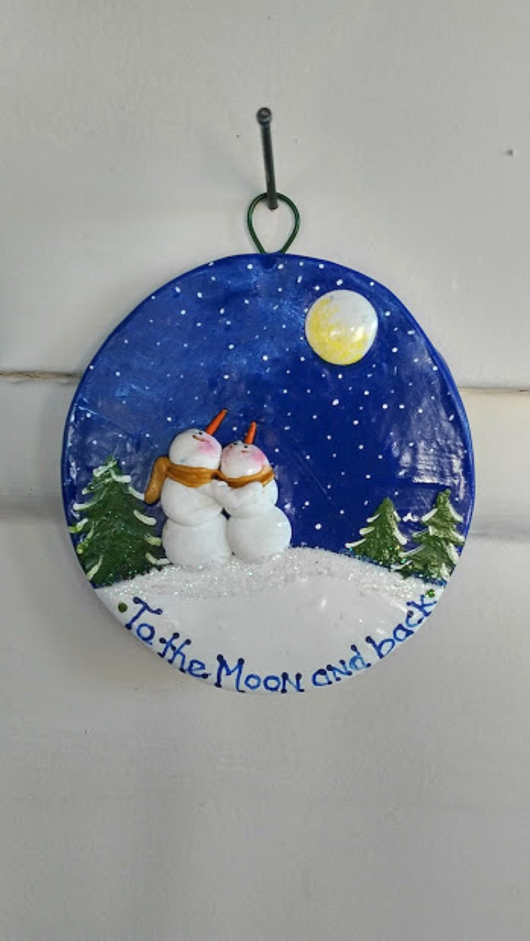 Hand Sculpted Hand Painted 3 Polymer To The Moon And Etsy In 2021 Hand Painted Ornaments Polymer Clay Ornaments Polymer Clay Christmas
