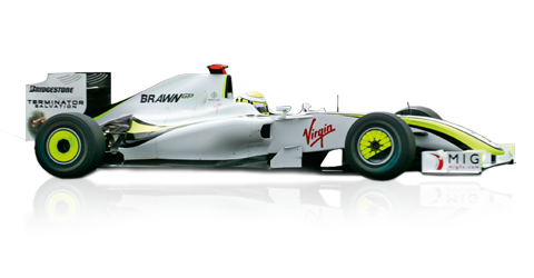 2009: Brawn GP BGP 001:  Jenson Button and Rubens Barrichello were the drivers for Mercedes-Benz partner team Brawn GP. Button won six out of the first seven races and took the World Championship title at the end of the season. Barrichello won two further races in the BGP 001. The same year saw McLaren-Mercedes driver Lewis Hamilton achieve a historic first victory for a Formula One racing car with KERS hybrid.  Displacement:V8  Maximum Output:2400 cc (147 cu in)  Top speed:no date