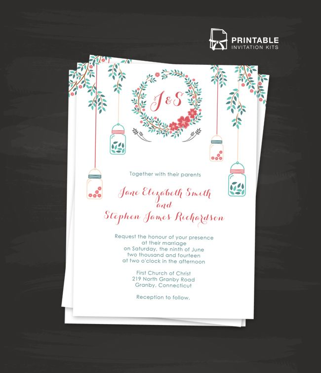FREE PDF Template. Floral Wreath and Mason Jar Wedding Invitation