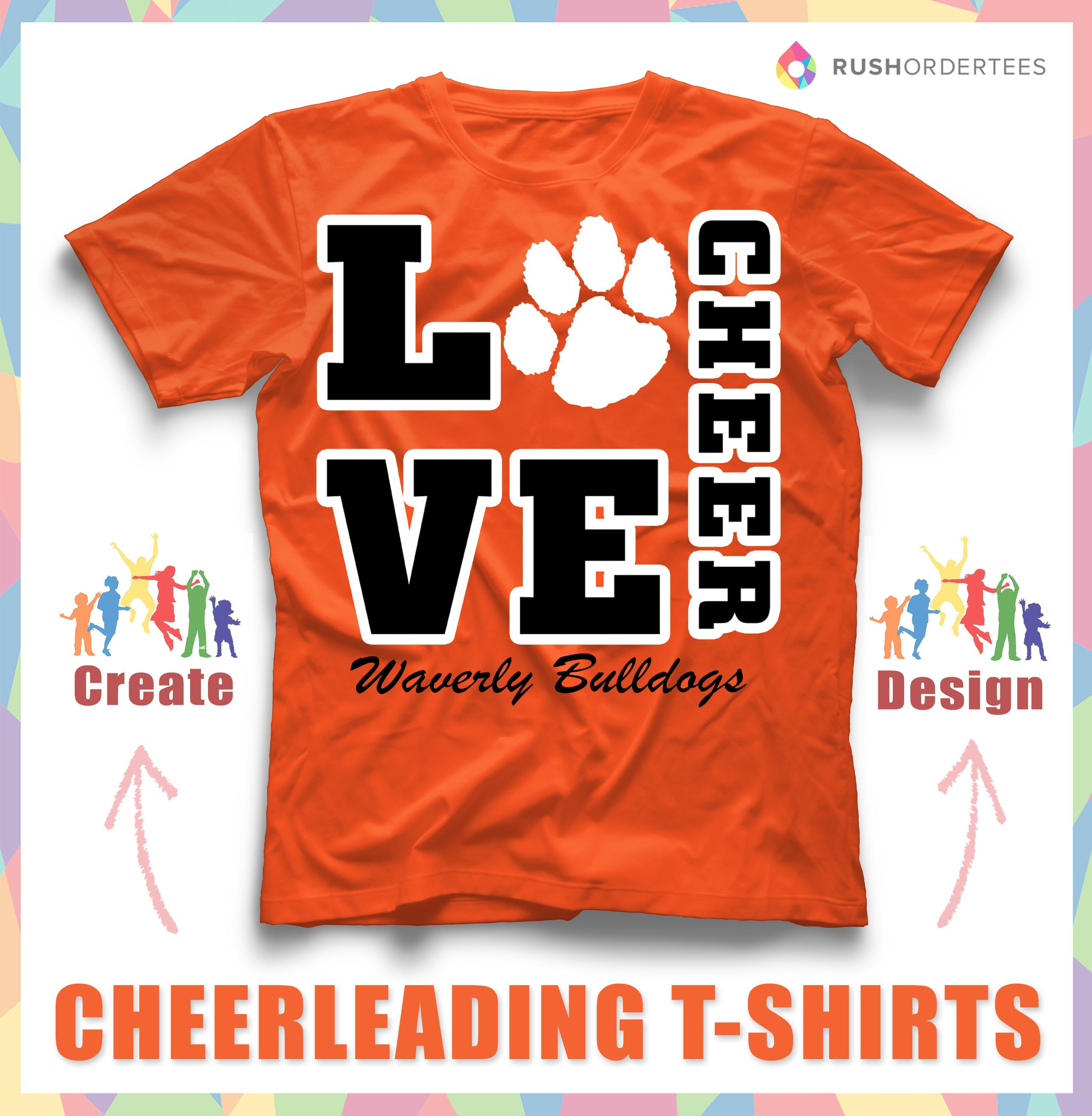 Love to cheer create custom cheerleading t shirts for Cheerleading t shirt designs