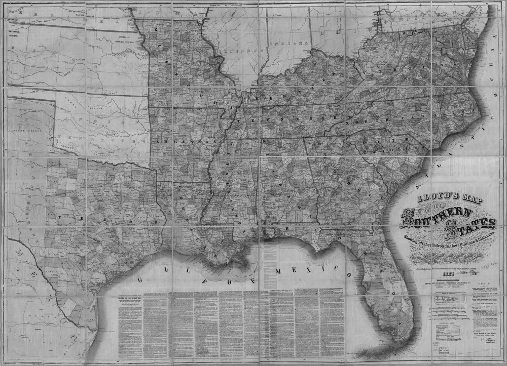 US CONFEDERATE STATES 1862 MO MAP Bloomfield Bourbon Bowling Green