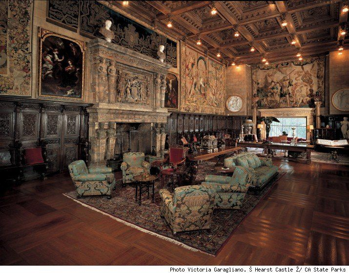 Hearst Castle (note the breath taking ceiling, marble fireplace and tapestry rugs on walls)