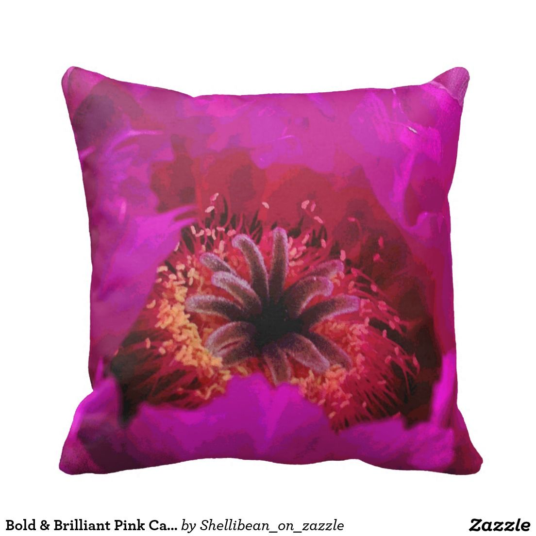 Bold Brilliant Pink Cactus Flower Pillow The Zazzle Cushions