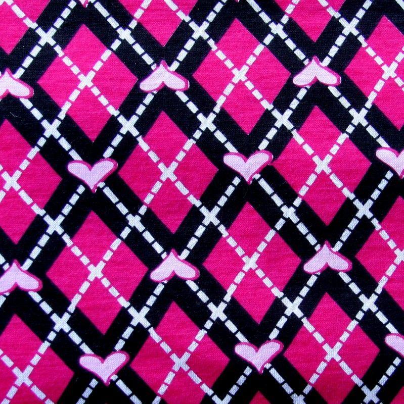Fuschia Hearts Argyle Knit Fabric   Argyle, Fabric, Fabric ...
