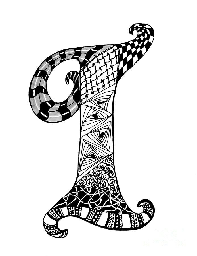 Zentangle Letter I Monogram In Black And White Drawing