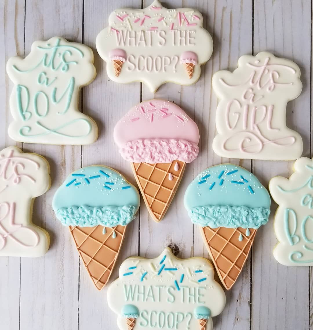 "Faith Lane Confections on Instagram: ""Summertime definitely calls for ice cream and this gender reveal theme might be my new favorite. Or maybe everything should just be about…"""