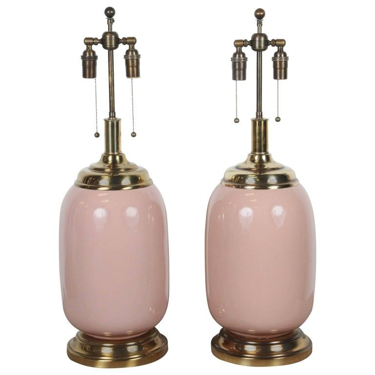 Pair Of Salmon Glazed Lamps