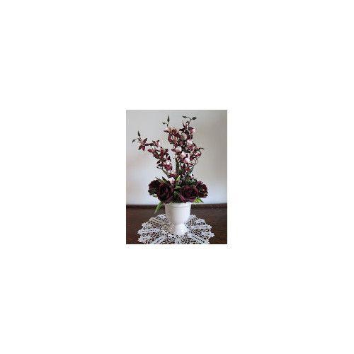 Silkmama Plum Roses and Orchids in Ceramic Urn