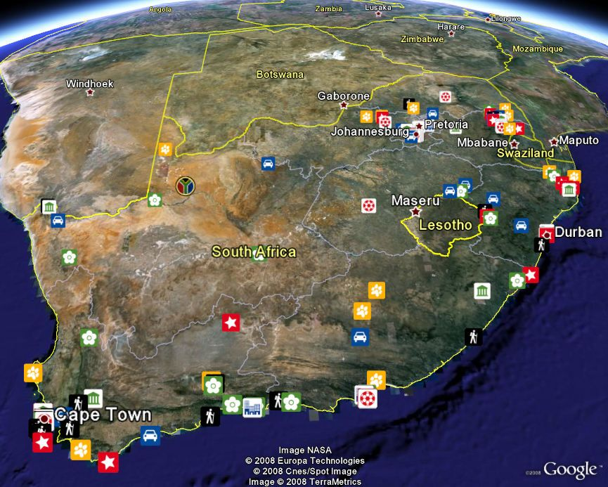 Satellite Map South Africa Nasa map of South Africa | Africa map, South africa map, African image